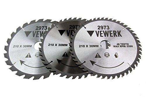 3x Kreissägeblatt 210x30mm Holz HM Sägeblatt 24Z 40Z 48Z Reduzierringe 25-16 mm