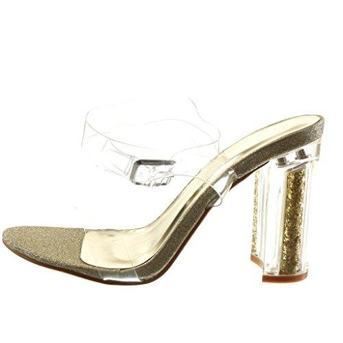 Angkorly Damen Schuhe Sandalen - Sexy - Transparent - Glitzer - String Tanga Blockabsatz High Heel 10 cm Gold