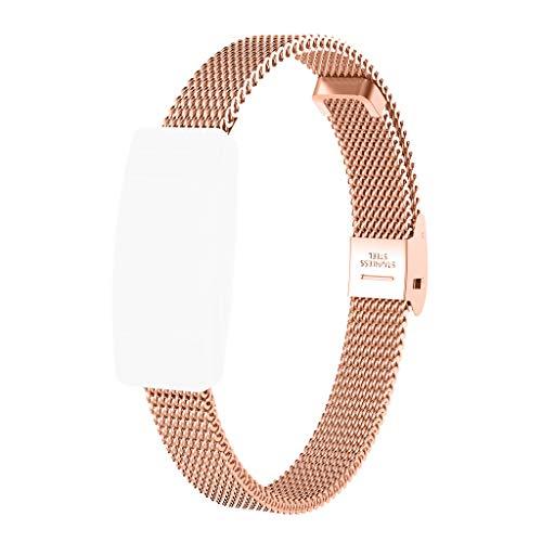 SEWORLD Armband Kompatibel für Fitbit Inspire/Inspire HR,Ersatzarmband aus Edelstahlgewebe + Film Handschlaufe Armbandersatz Uhrenarmband UhrBand Quick Release Ersatzband(Rose Gold)