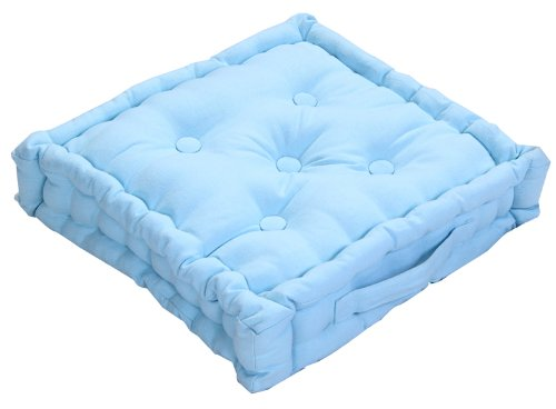 Homescapes Coussin de Chaise de Couleur Bleu Fait en 100% Coton de 40x40 cm pour Chaise de Salon et Chaise de Jardin