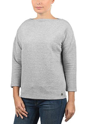 DESIRES Jona Damen Sweatshirt Pullover Sweater Mit U-Boot-Ausschnitt Und 7/8 Arm, Größe:XXL, Farbe:Light Grey Melange (8242)