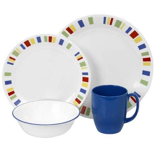 Corelle Geschirr-Set Memphis aus Vitrelle-Glas für 4 Personen 16-teilig, splitter- und bruchfest, rot/gelb/blau/grün