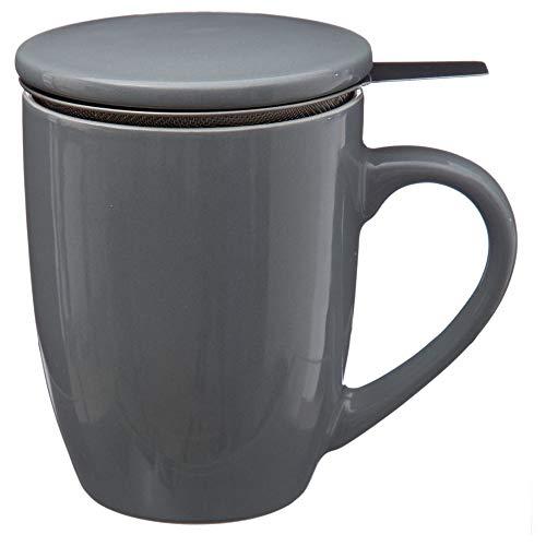 SECRET DE GOURMET Teetasse, Becher mit Deckel und Metallsieb - 320 ml (Grau) Gourmet-becher