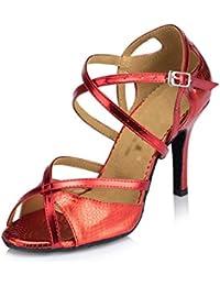 WYMNAME Mujeres Zapatos de Baile Latino,Tacones [Fondo Blando] Peep-Toe Zapatos de Baile Social Sandalia-Rojo...