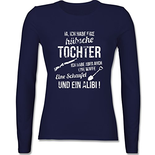 Muttertag - Ich habe eine hübsche Tochter - tailliertes Longsleeve / langärmeliges T-Shirt für Damen Navy Blau