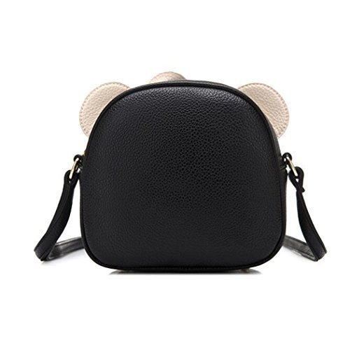 FAIRYSAN Cute Cat Ear Design Leather Personality Animal Shoulder Mini Messenger Cross Body Bag (Black) nero