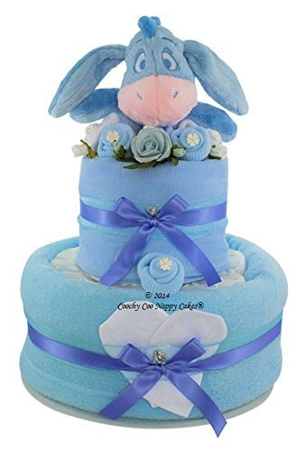 Baby Boy baby shower Nappy Cake with Disney Eeyore soft toy FREE delivery by Coochy Coo Nappy Cakes?