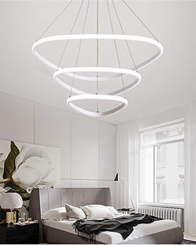 ZHLIN Moderne Led Pendelleuchte Ring,75w Led 3-Ring Acryl Höhenverstehbar Hängelampe Kronleuchter Hängeleuchte Wohnzimmer Deckenleuchte Schlafzimmer Wohnzimmer Küche, White -