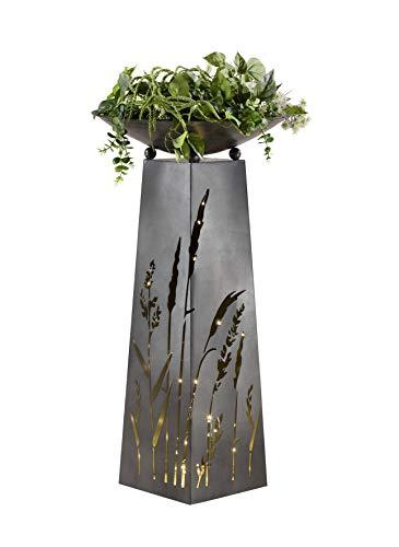 G.i.l.d.e Schalenständer m. Schale Gräser Metall Höhe 95 cm
