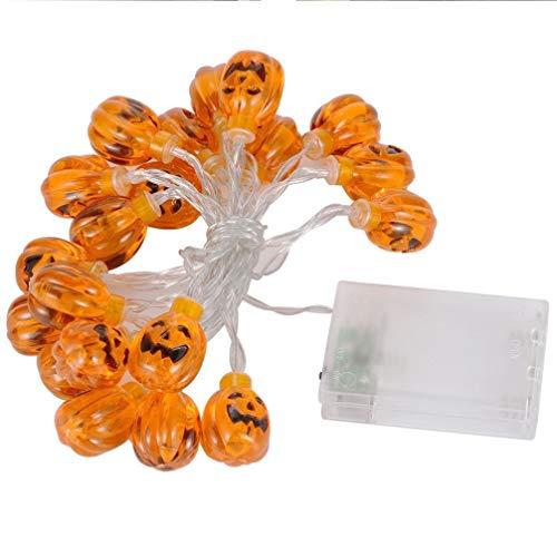 (Prevently Halloween Lichter Kürbislicht Kürbis Halloween Lichterkette Kürbis 20 LED String Lights Halloween Dekoration Leuchtet Warmweiß)
