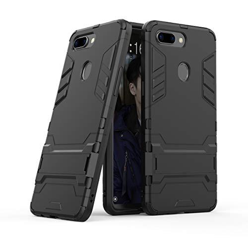 Xinanlongjb Für Oppo R15 Pro (Oppo R15 Dream Mirror Edition) mit Fallschutzhalterung Classic 2 in 1 Armor Series Coole Handyhalterungsfunktion Hartschalen-Hülle (Farbe : Schwarz)