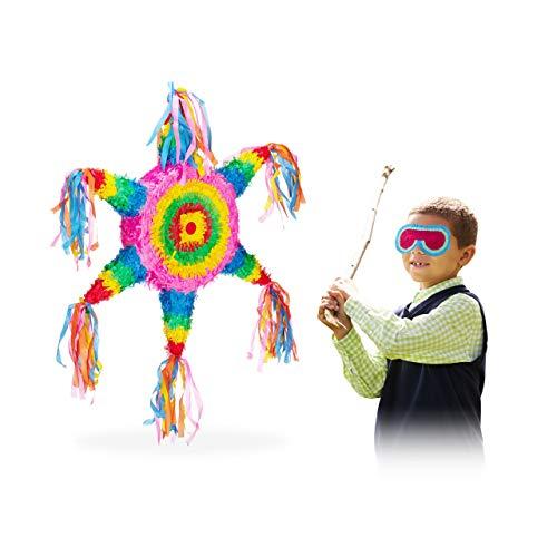 Relaxdays 10025181 Pinata Stern, zum Aufhängen, für Kinder, Mädchen & Jungs, Geburtstag, zum selbst Befüllen, Mexiko Piñata, bunt