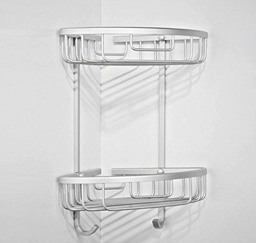 tougmoo livello Doppia Alluminio scaffale d' angolo bagno cestino gancio rack per doccia shampoo Sapone Accessori Casa Organizador, White