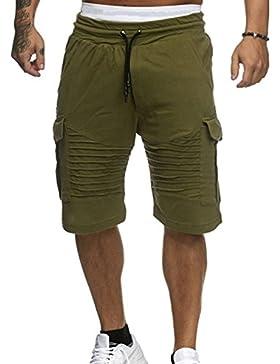 Keephen Pantalones Cortos Hombres Casual Pantalones Cortos de Verano Gimnasio Sexy Bodybuilding Entrenamiento...