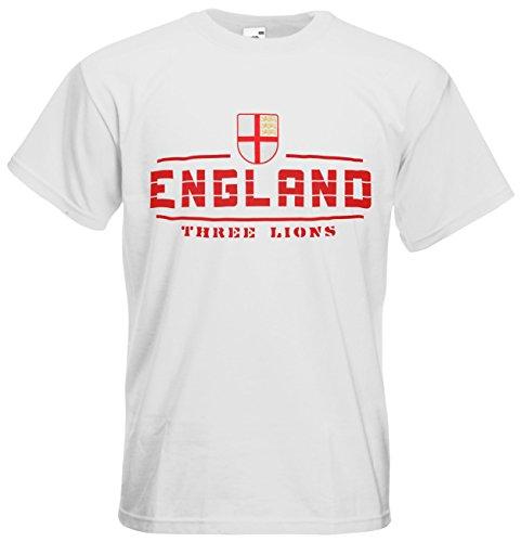 England Fanshirt T-Shirt Länder-Shirt im modernen Look Weiß