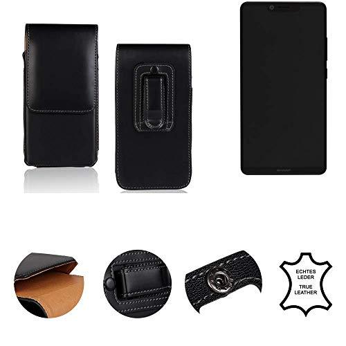 K-S-Trade® Gürtel Tasche Für Sharp Aquos D10 Handy Hülle Gürteltasche Schutzhülle Handy Tasche Schutz Hülle Handytasche Seitentasche Vertikaltasche Etui, Leder Schwarz, 1x