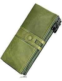 Roulens Portafogli da donna in vera pelle, multifunzione, sottile, con cerniera, grande capacità porta carte con RFID