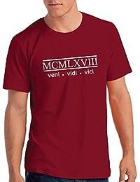 "Mens 1968 ""Veni Vidi Vici"" 50th Birthday T Shirt Gift with Year Printed in Roman Numerals"