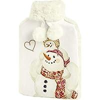 Ihr Wärmflasche mit Bezug aus Velours, Kunstfell und Bommeln–Happy Winter Day Schneemann Love preisvergleich bei billige-tabletten.eu
