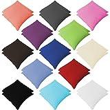 Style Heim 2er Pack Renforce Kissenbezüg Kissenhülle Kopfkissenbezug mit Reißverschluss 80x80 cm 100% Baumwolle Anthrazit Grau