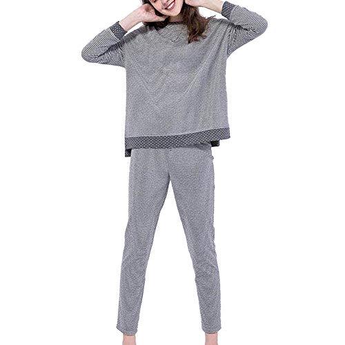 Hffan Damen Schlafanzug Rundhals Langarm Baumwollmischung Weich Bequem Gestreift Damen-Pyjama Hausbekleidung Schlafanzug Pyjama-Set Oberteil und Hosen(Grau,Medium)
