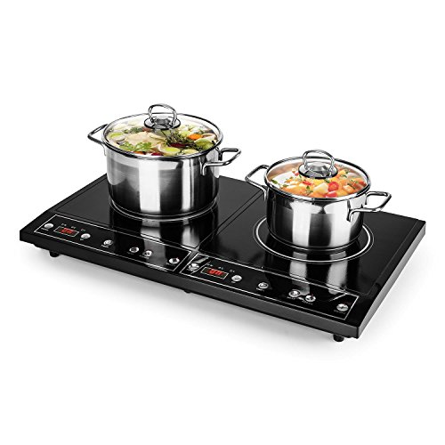 oneConcept Chefzone • Plan de cuisson • Plaques de cuisson à double induction • 3500 W • 240°C • 10 niveaux de puissance • Surface en vitrocéramique •...