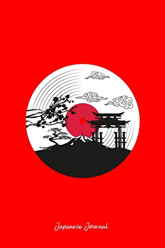 Japanese Journal: Lined Journal - Japan Zen Garden Scene Black DJ Music Culture Musician Gift - Red Ruled Diary, Prayer, Gratitude, Writing, Travel, ... For Men Women - 6x9 120 pages - Ivory Paper - Journal Japanese