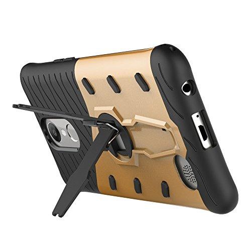 Dual Layer PC + Soft TPU Armor Defender Case Heavy Duty Vollschutz 360 ° Drehbarer Stand Shockproof (Stoßdämpfung) Abdeckung Für LG K10 2017 ( Color : Black ) Gold