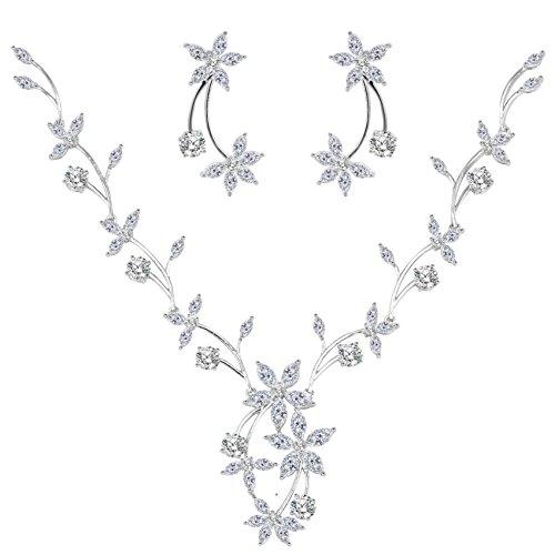BiBeary Zircon CZ elegante nozze V-Forma Full Pendant collo fiocco di neve Fiores foglia Collana Orecchini Parure per Donna tono argento