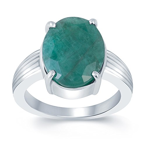 G-Luck Certified Natural Emerald Panna 92.5 Sterling Silver Gemstone Ring For Men