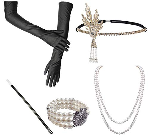 1920s Fashion Accessories Set Roaring 20's Great Gatsby Theme Party Flapper Headband Headpiece Long Black Gloves Necklace Cigarette Holder Costume Accessories For Women (Ruby)(Size: One size)