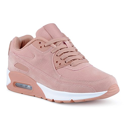 Damen Herren Sneaker Sportschuhe Turnschuhe Laufschuhe Freizeit Low Unisex Schuhe Nude/Pink-W EU 37