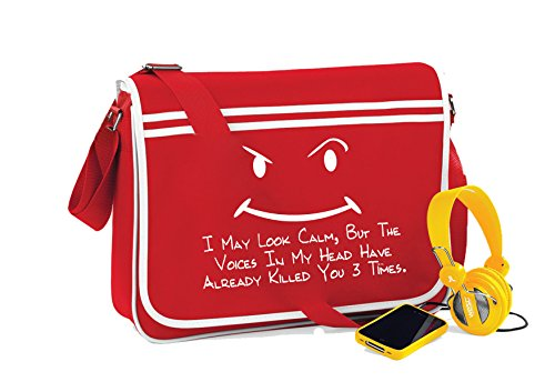 I May Look Calm-Unisex-lustige Sprüche Neuheit Retro Messenger Bag- Kirschrot