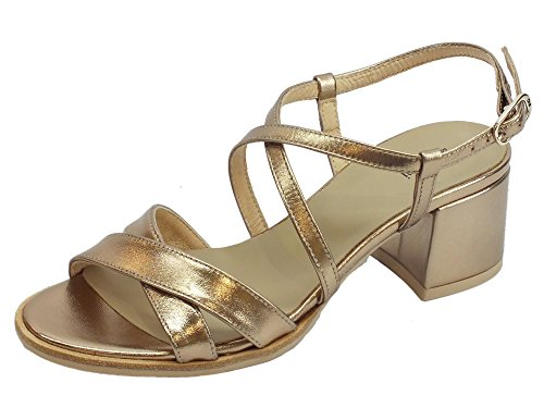 Sandalo Nero Giardini mod. P805833D in Pelle Color SANDALO Dorato 15%