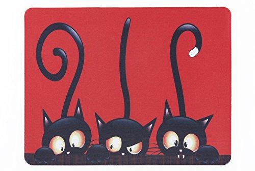 lillybox Praktisches Mousepad, 3 Niedliche Katzen, Schwarze Katzen, für Büro und Arbeitsplatz. in Schwarz, Rot und Weiß.