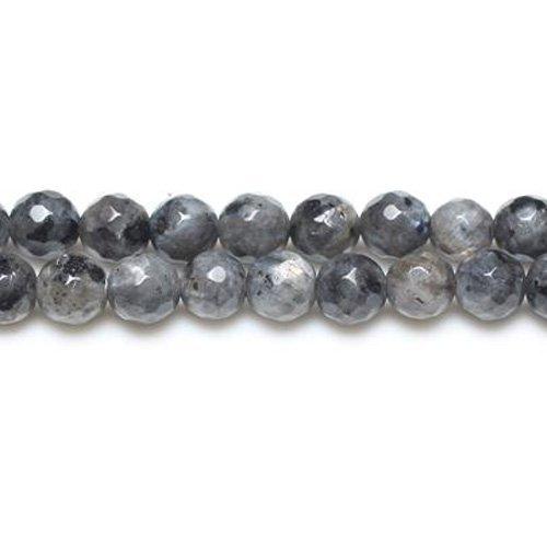 Fil De 45+ Noir/Gris Larvikite 8mm Perles Rondes Facetté - (GS8636-3) - Charming Beads