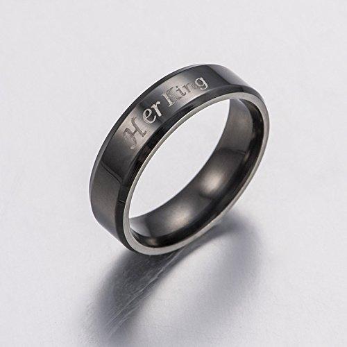 Outflower 1 Stück Ring Für Liebhaber Paar, Her King/His Queen Stahlring Ehering Ringe Schmuck Für Valentinstag/Geburtstag/Jahrestag