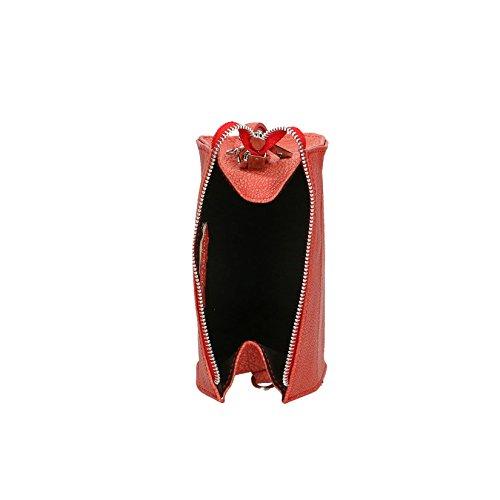 Pochette in Made Vera da 18x10x10 Donna Clutch a Corallo Tracolla Chicca Cm in Borse Pelle Italy Borsetta CSqttf