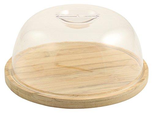 Galileo casa bamboo tagliere con coperchio, plastica e legno, legno, 18 x 18 x 7 cm