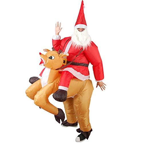 MIMI KING Aufblasbarer Weihnachtsmann Reiten EIN Hirsch-Kostüm, Erwachsene -