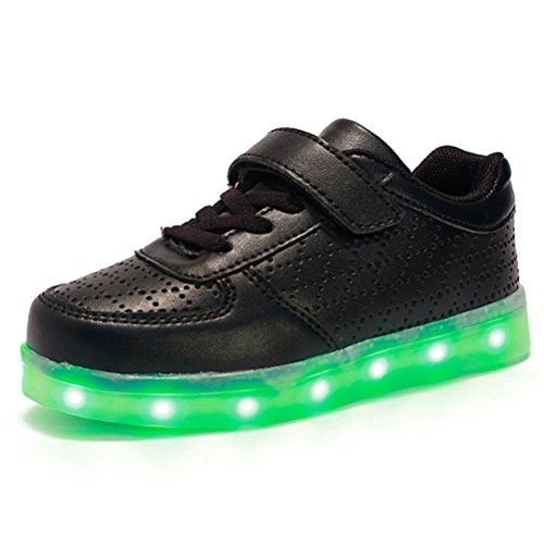 Zhuhaitf Kids Light Up Trainers Boys Grils 7 Farben USB Charge Sport Breathable Shoes Black