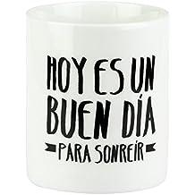 """Mr. Wonderful - Taza """"Hoy es un buen día para sonreír"""", 300 ml, color blanco y negro"""
