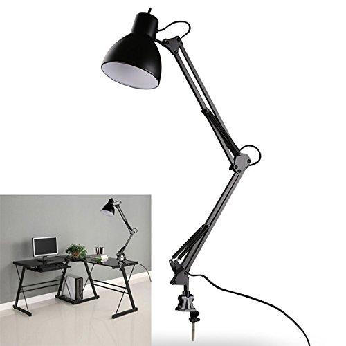 ACDGS Flexible Swing Arm Klemmhalterung Lampe Office Studio Home E27 / E26 Tabelle Schwarz Schreibtischlampe AC85-265V ACDGS -