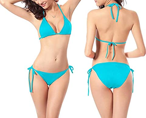 Sexy Family Candy Colors Classic Halter Neck Bikini Set Side