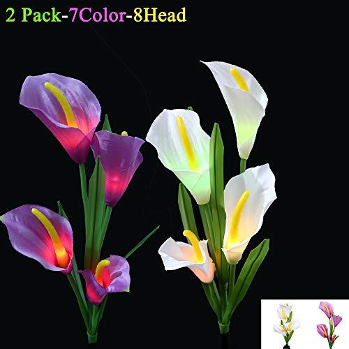 LED-Solarlilien-Blumen-Licht-Garten im Freien, Ruentech 2Pack 7 Farben, die Außenseiten-Solarpfahl-Lampen ändern, beleuchten für Garten, Yard, Bahn-Dekoration (Calla lily lamp) -