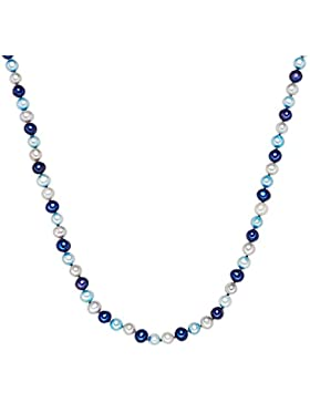 Valero Pearls Classic Collection Damen-Kette Hochwertige Süßwasser-Zuchtperlen in ca.  7 mm Oval nebelblau / aqua...