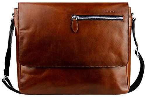 Bugatti Domus Leder Messenger Bag Umhängetasche für Damen und Herren mit 13