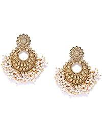 Zaveri Pearls Gold Tone Traditional Pearls Beaded Dangle Earring For Women-ZPFK7299