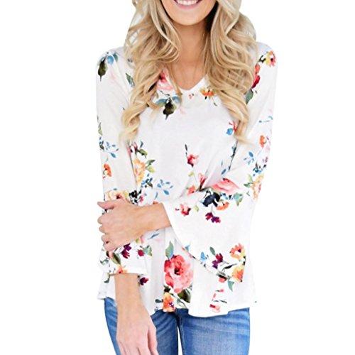 YunYoud Damen Große Größe Hemd Frau Herbst Beiläufig Bluse Blumendruck Lange Flare Hülse Tops O-Hals T-Shirt Mode Elegante blusen (XXXXL, Weiß) (Flare-hose Schnur)
