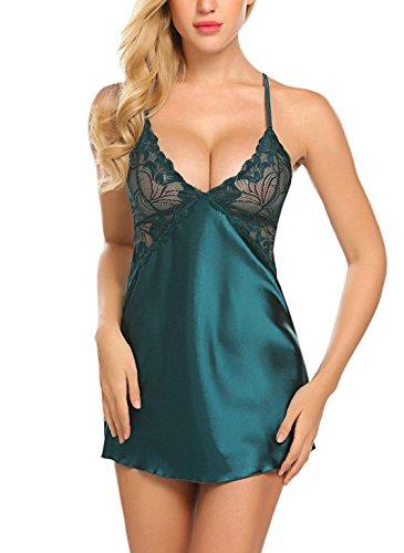 ADOME Satin Negligee Baby dolls Sexy Rückenfrei Nachthemd Nachtkleid Nachtwäsche kleid Lingerie Sleepwear Spitze-BH für Damen mit string (Netz Doll Lingerie Baby)